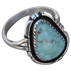Navajo Shadowbox Sterling & Turquoise Teardrop Ring