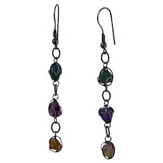 Dangle Aventurine, Amethyst & Peach Quartz Earrings