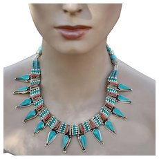 Nepalese Necklace with 13 Tibetan Turquoise Pendants