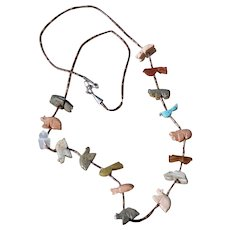 All the animals & blue bird soapstone necklace