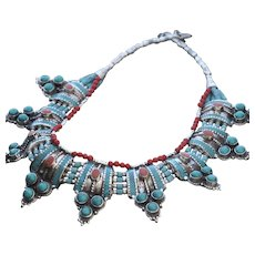 Nepalese Necklace with 9 Turquoise & Coral Pendants