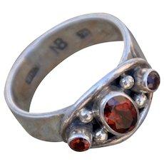 Garnet & .925 Sterling Silver Ring