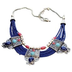 Nepalese style necklace in brass and blue