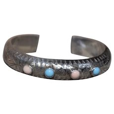 Thai Fine Silver Bracelet with Pink and Sleeping Beauty Turquoise Stones
