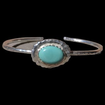 Fine Silver & Hubei Turquoise Bangle