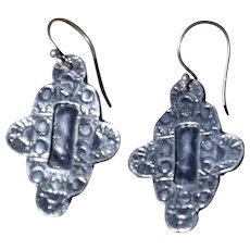 Hand-Cast Fine Silver Santa Fe Style Earrings