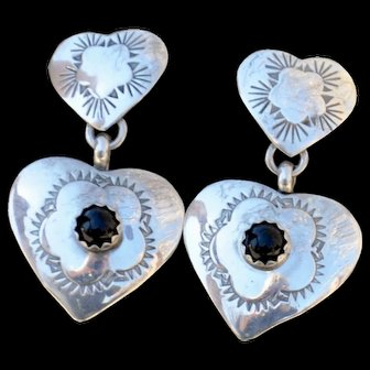 Sweet Hearts Sterling Silver Earrings with Onyx