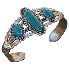 Vintage Bell Trading Post sterling Navajo Turquoise Bracelet with Arrow