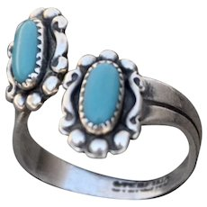 VINTAGE Navajo Sterling Ring with Two Natural Turquoise Stones