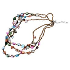 VINTAGE Mother of Pearl Triple Strand Necklace