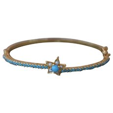 22K Gold Turquoise Bangle with Freshwater Pearl Star