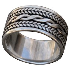 VINTAGE .925 Sterling Band with Braided Design