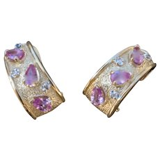 VINTAGE Pink Sapphire 14K Lever Back Earrings with Tiny Diamonds