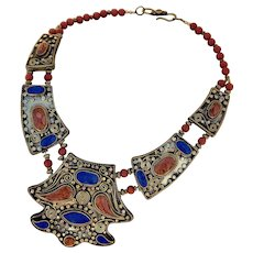 Vintage Nepalese Necklace with Inlay of Lapis & Coral