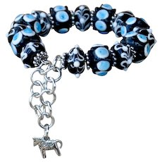 Hand Made Blue & Black Lampwork Stretch Bracelet with Horse Charm