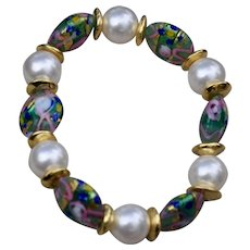 Handmade Murano Wedding Glass Beads with Swarovski Pearl Stretch Bracelet