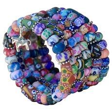 Krobo and Polymer Clay Beaded Wrap Bracelet