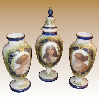Gorgeous Bristol Portrait 3 piece Garniture Mantle Vase set circa 1890's
