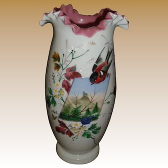 Tall  Cased Glass Vase with Enameling 12 1/2 tall