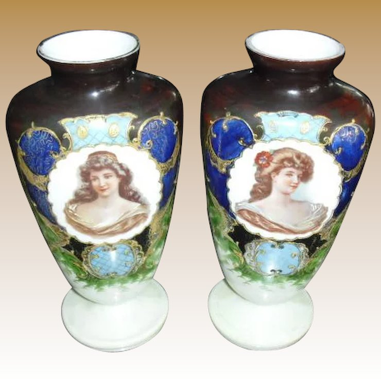 Lovely Pair Of Bristol Portrait Mantle Vases Early 1900s St