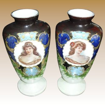 Lovely Pair of Bristol Portrait Mantle Vases early 1900's
