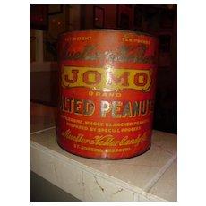JOMO Salted Peanuts Tin Mueller-Keller Candy Co. St. Joseph, Mo.