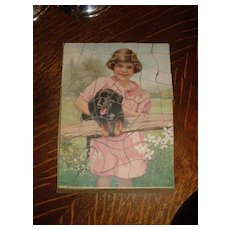 Very Cute old 1940's era Pals Puzzle featuring Young Girl and Dachshund Dog