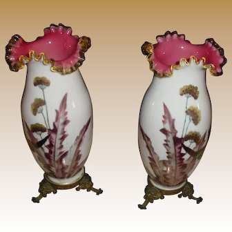 Lovely matching pair Stevens & Williams Vases with metal bases