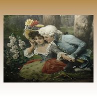 Whispers Of Love Print with Original Frame ca 1910