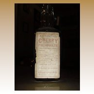Old Cherry Phosphate Paper Label Soda Fountain Bottle