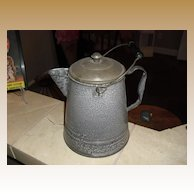 Large Primitive granite ware / enamel coffee pot