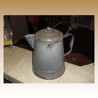 Large Primitive granite ware / enamel coffee pot