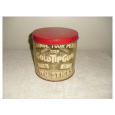 Gold Tip Gum Advertising Display Can Circa 1930's