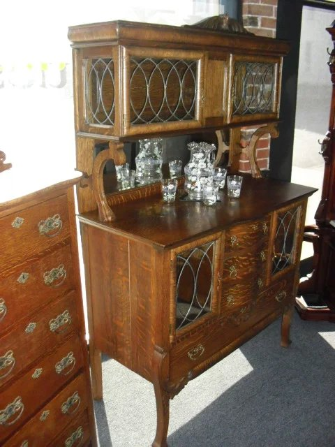 Lovely Antique Oak Sideboard Buffet With Leaded Glass St