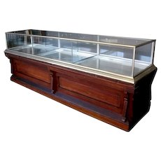Antique Nickel Upper Showcase with Walnut Base Counter circa 1890's