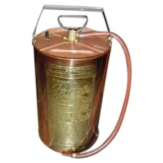 Vintage 5 Gallon Pyrene Copper Pump Tank Fire Extinguisher, Polished and Clean