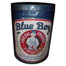 Large Blue Boy Fresh Frozen Fruits Tin 30lb.   Geo. W. Haxton & Son Oakfield, NY ~ Great Graphics