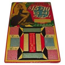 Large Size Sittin Pretty Pin Up Girl Punch Board circa 1940's
