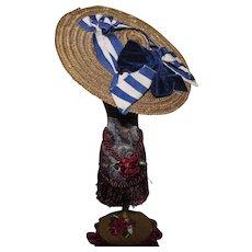 Antique French Fashion straw hat
