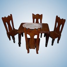 Antique dollhouse table, chairs and rug