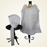 French doll bonnet white cotton and lace, and Chemise