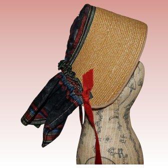 Antique straw and silk polk bonnet