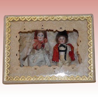 Antique German all original All Bisque Twins 3 1/2 inches