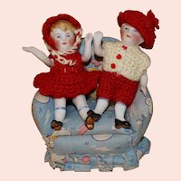 German all bisque Twins 3 inches tall