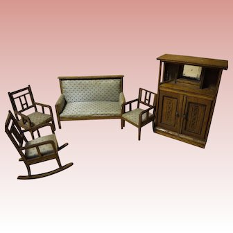 Antique German doll house settee grouping.