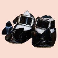 Vintage patent oil cloth shoes