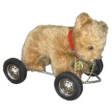 Vintage Hermann bear on wheels