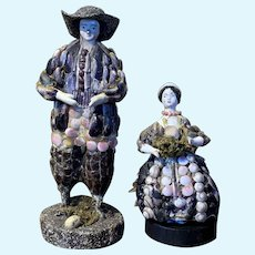 Antique Pair of shell dolls c. 1830's