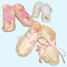 Antique doll shoe lot