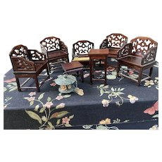 Grouping of Asian doll Furniture
